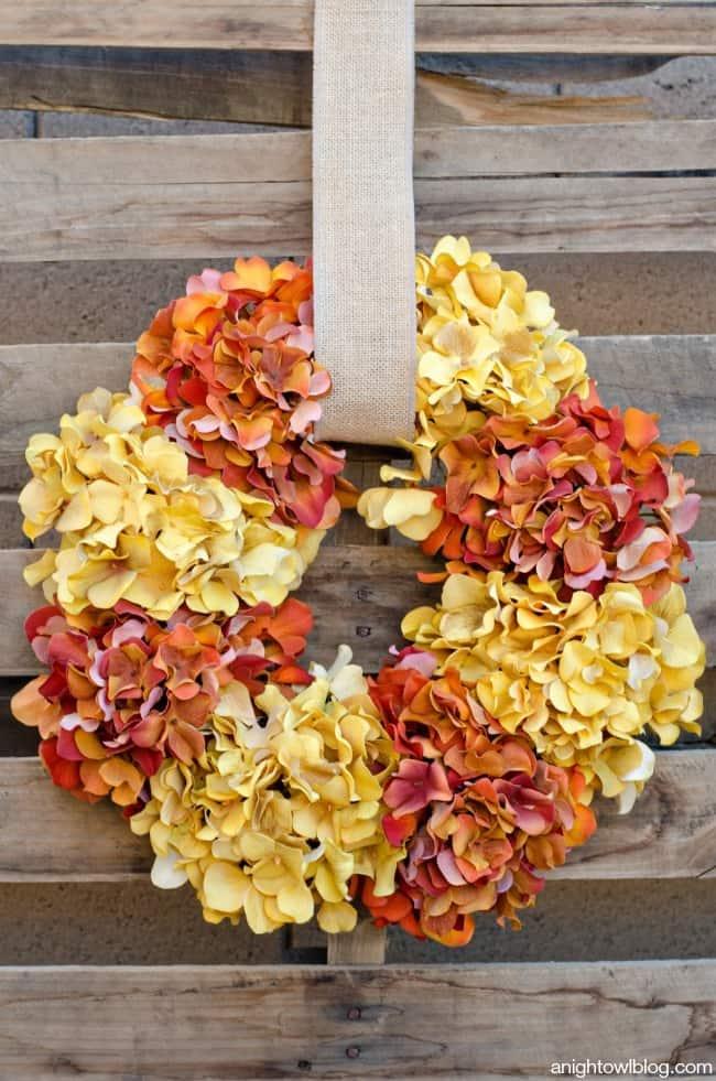 Easy-Fall-Hydrangea-Wreath-from A Night Owl Blog