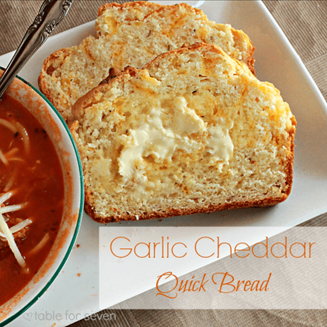 Garlic Cheddar Quick Bread from Our Table for Seven