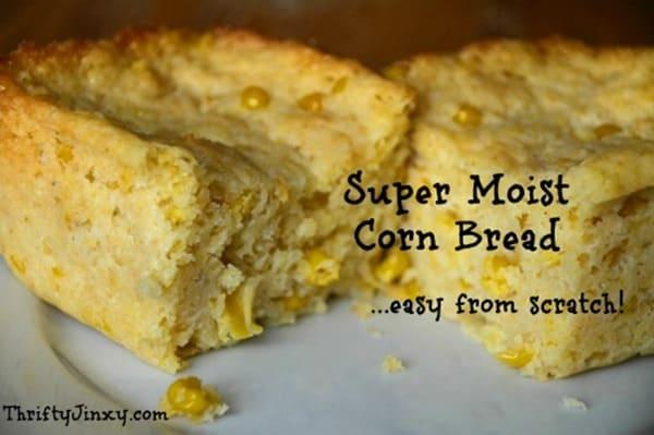Moist Corn Bread from Thrifty Jinxy