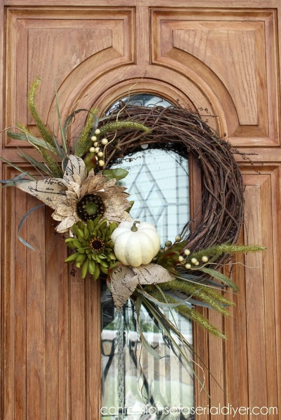 Neutral Fall Wreath from Confessions of a Serial DIYer