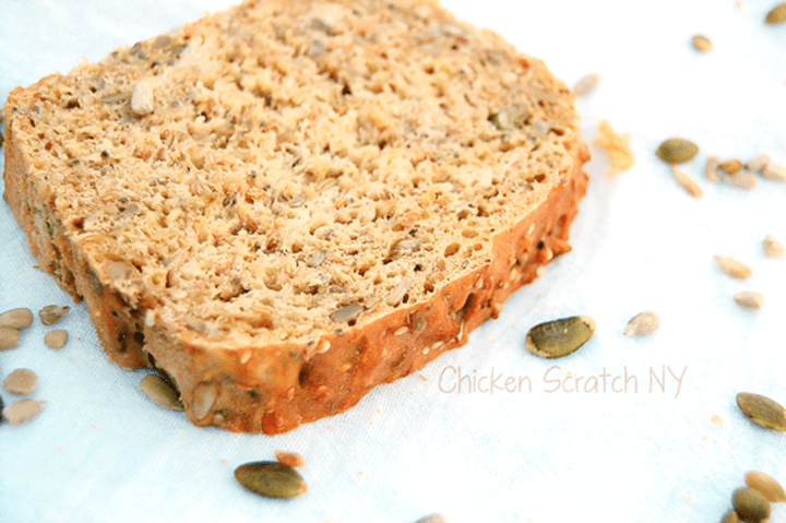 No Knead Seed Bread from Chicken Scratch NY