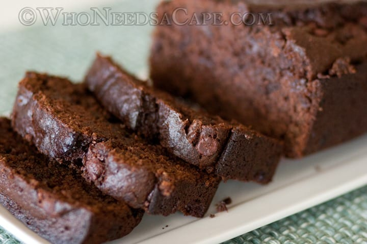 Sour Cream Chocolate Chocolate Chip Banana Bread from Who Needs a Cape