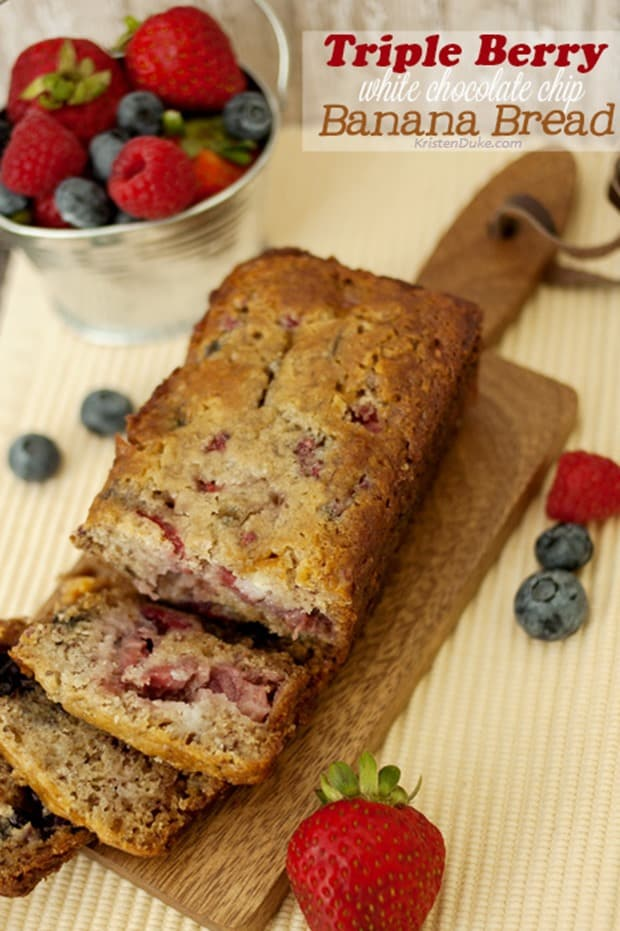 Triple-Berry-White-Chocolate-Chip-Banana-Bread from Kristen Duke Photography