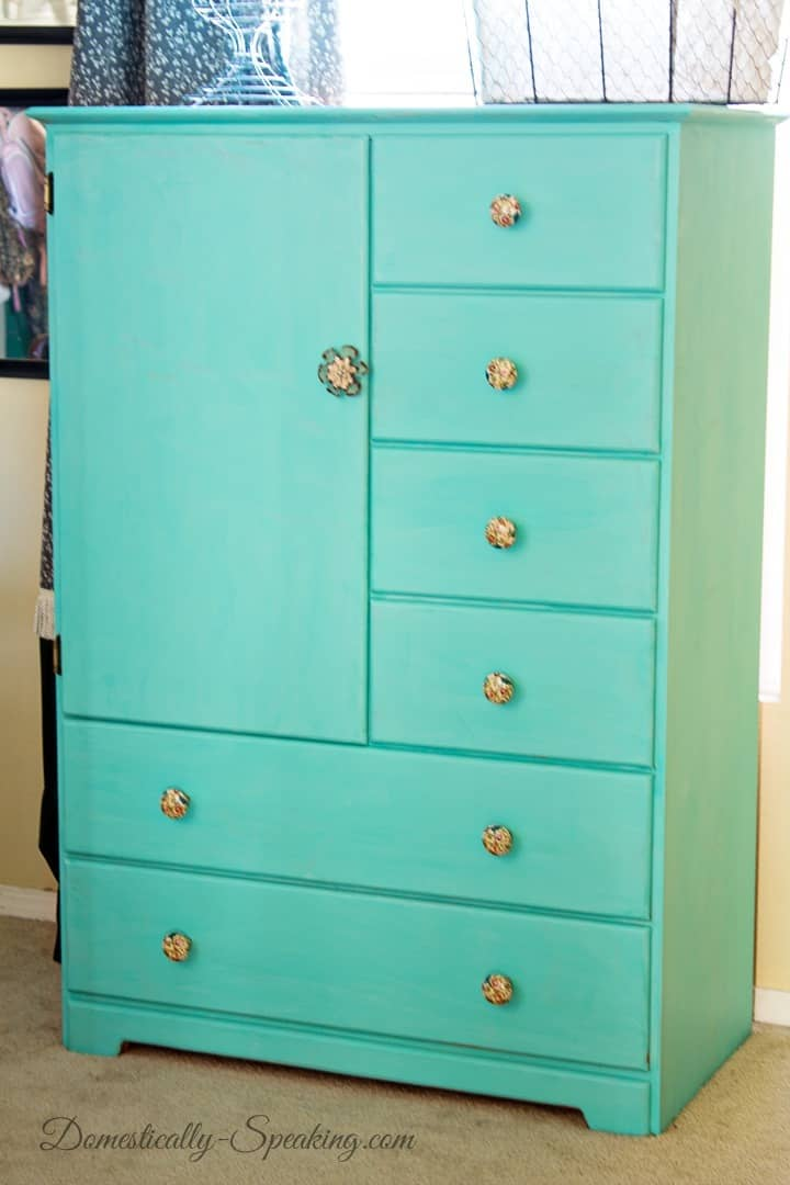 Turquoise Dresser Paint Makeover
