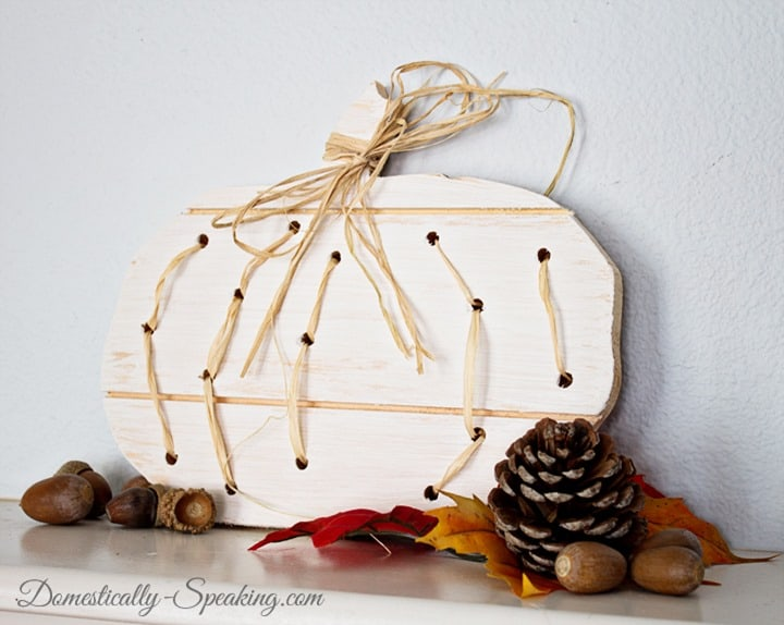 Wood and Raffia Pumpkin 4