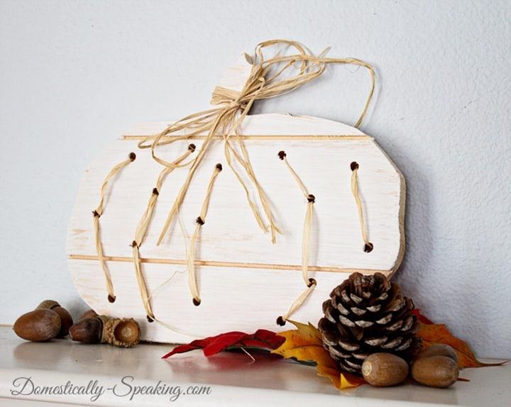 Wood and Raffia Pumpkin 4