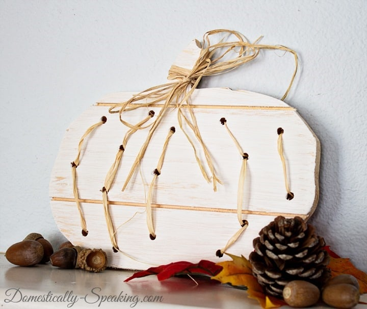 Wood and Raffia Pumpkin