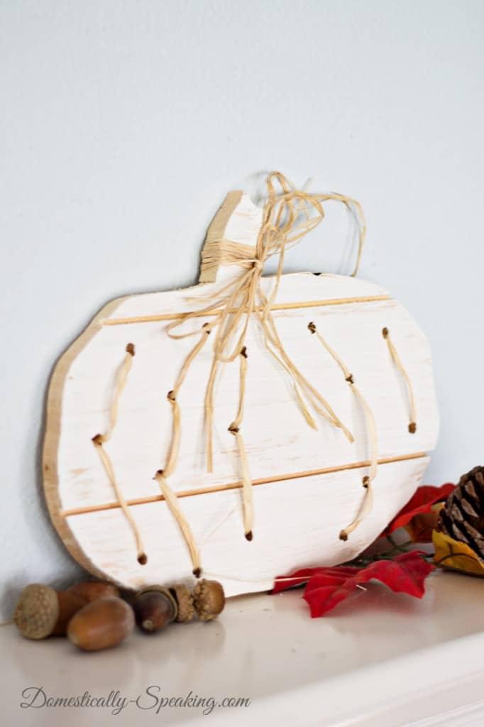 Wood and Raffia Pumpkin