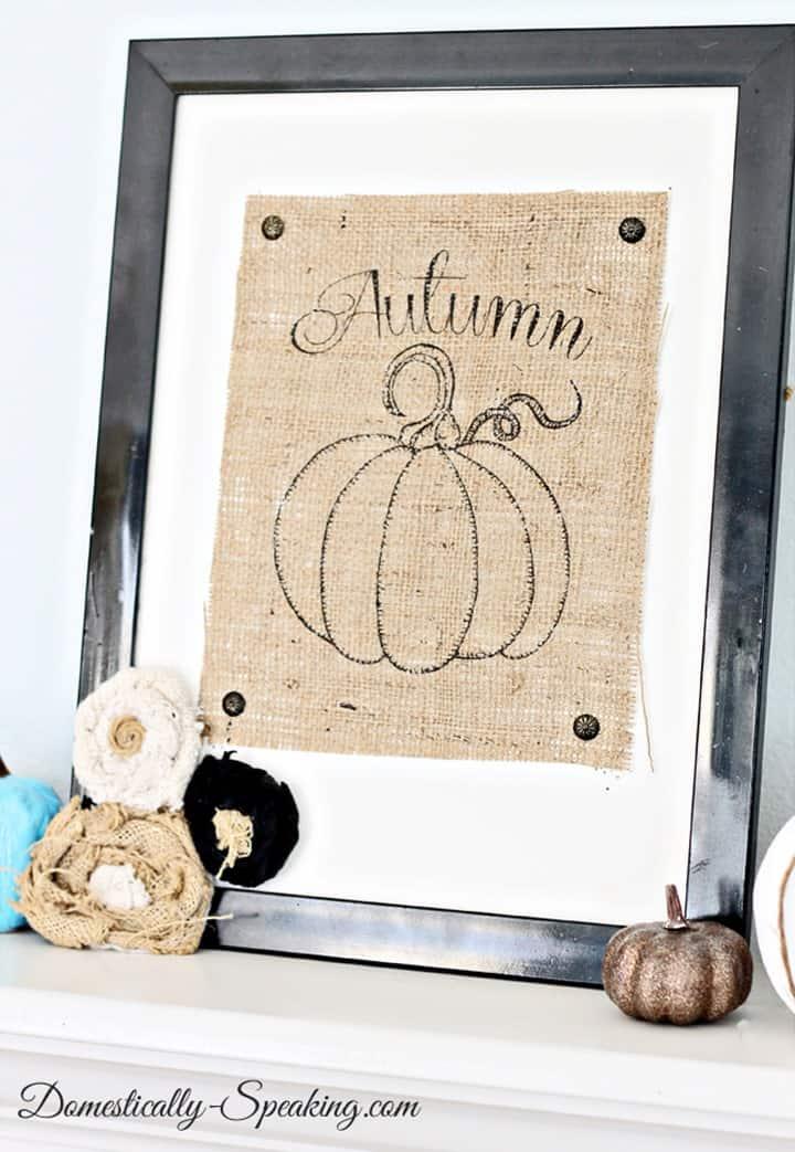 Burlap Autumn Pumpkin