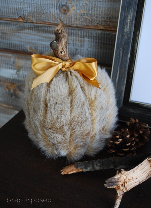 DIY Faux Fur Covered Pumpkin from Bre Purposed