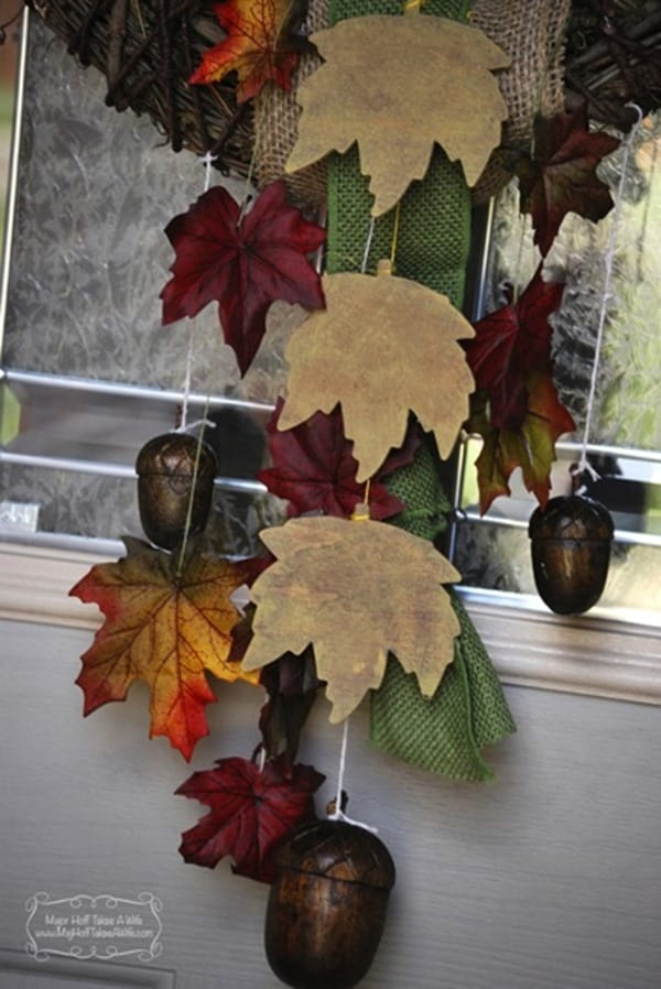 Fall Acorns Leaves and Burlap Wreath from Maj Hoff Takes a Wife