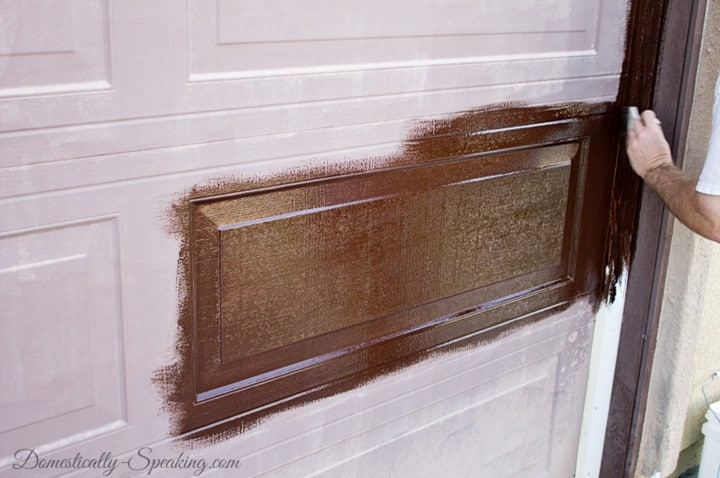 Faux Wood Garage Door Update with Stain