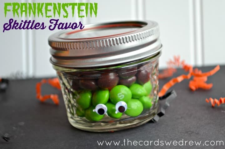 Frankenstein-Skittles-Favor from The Cards We Drew