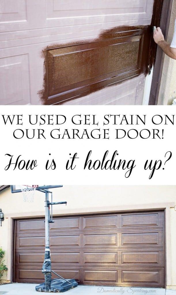 Diy Gel Stain Garage Door Update Domestically Speaking