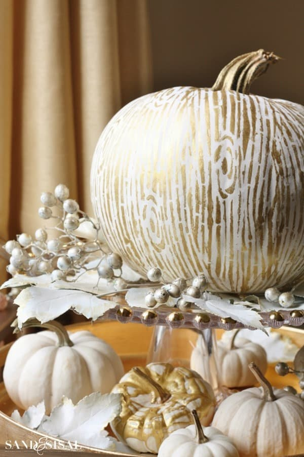 Gilded-Faux-Bois-wood-grain-Pumpkin from Sand and Sisal