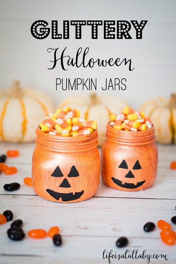 Glittery-Halloween-Jack-O-Lantern-Pumpkin-Jars from Life is a Lullaby