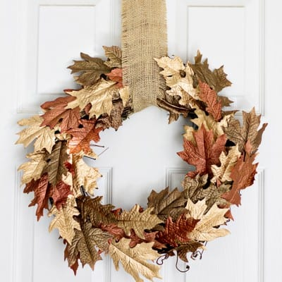 Metallic Browns and Gold Leaf Fall Wreath