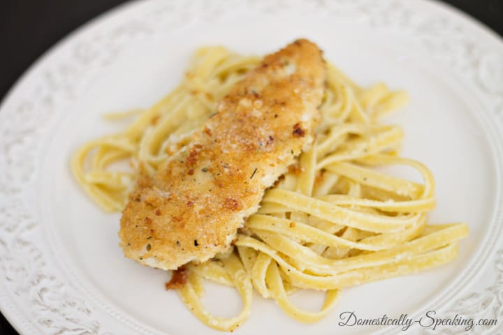 Panko Chicken with Garlic Butter fettuccine 1