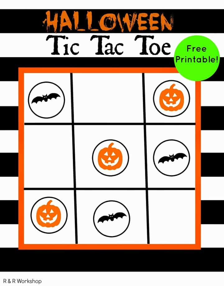 halloween tic tac toe game printable from R & R Workshops
