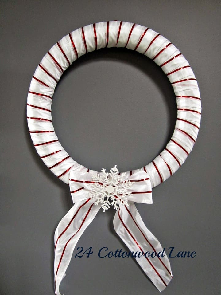 Red and White Christmas Wreath from 24 Cottonwood Lane