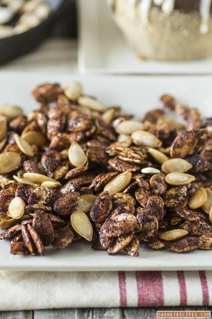 Roasted Maple Honey Cinnamon Pumpkin Seeds from Swanky Recipes