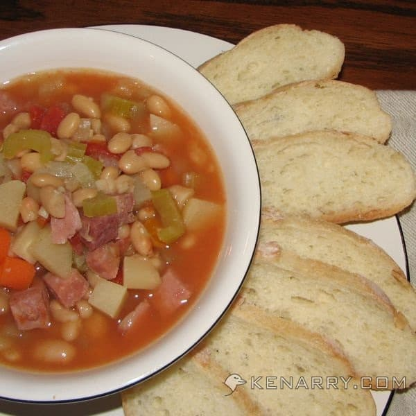 Slow Cooker White Bean and Ham Soup from Kenarry