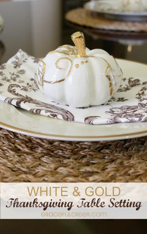 White and Gold Thanksgiving Tablescape from Graceful Order