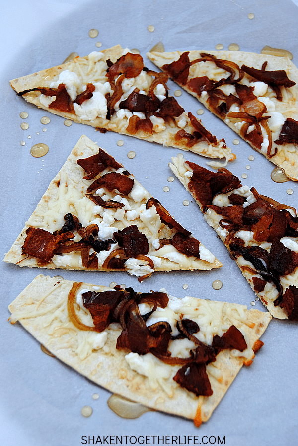 bacon-goat-cheese-caramelized-onion-flatbread-appetizer from Shaken Together Life