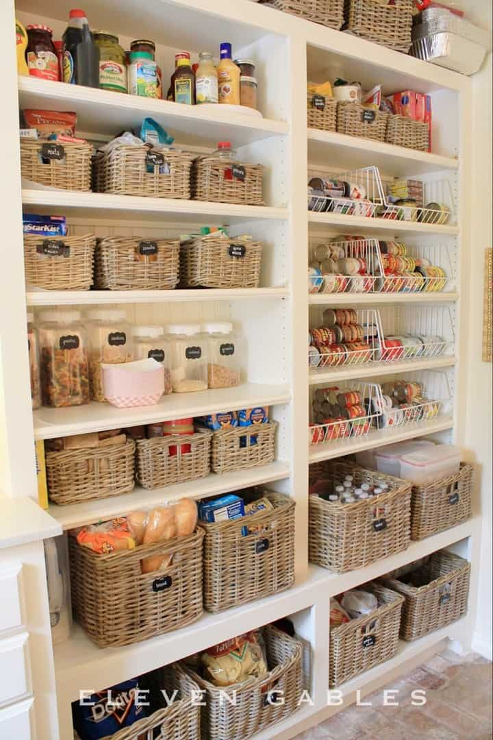 Baskets with Chalkboard Labels in the Pantry from 11 Gables