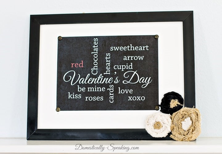 Chalkboard Valentine Subway Art Printable