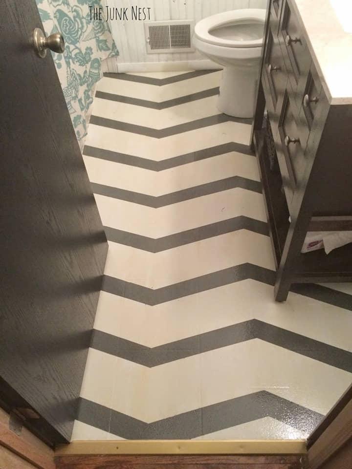 Chevron Painted Bathroom Floor from The Junk Nest