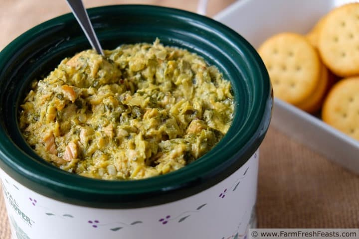 Slow Cooker Salmon Swiss Chard Dip from Farm Fresh Feasts