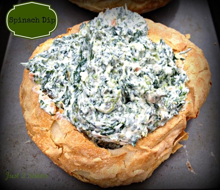 Spinach Dip Bread Bowl from Just 2 Sisters