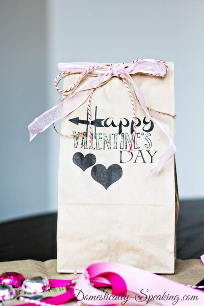 Valentine Brown Bag Printable so cute tied up with a variety of ribbons.