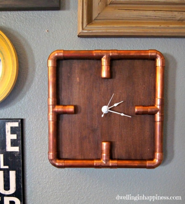 Industrial Copper Pipe Clock from Dwelling in Happiness