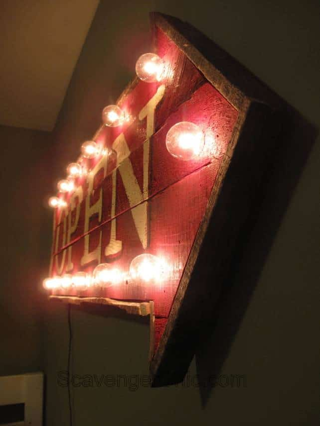 Pallet Wood Open Sign with Lights from Scavenger Chic