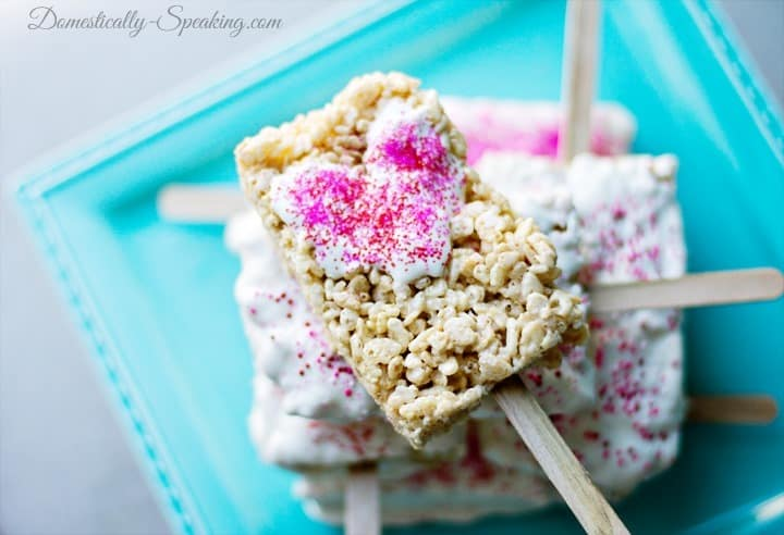 White Chocolate Dipped Rice Krispie Treats On A Stick