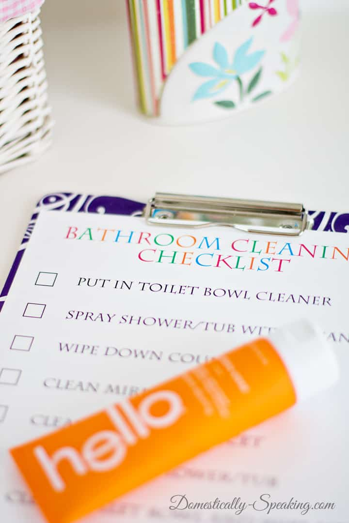 Bathroom Cleaning Checklist with hello 1