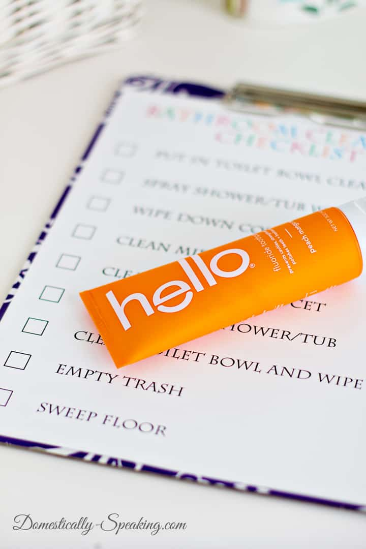 Bathroom Cleaning Checklist with hello 5