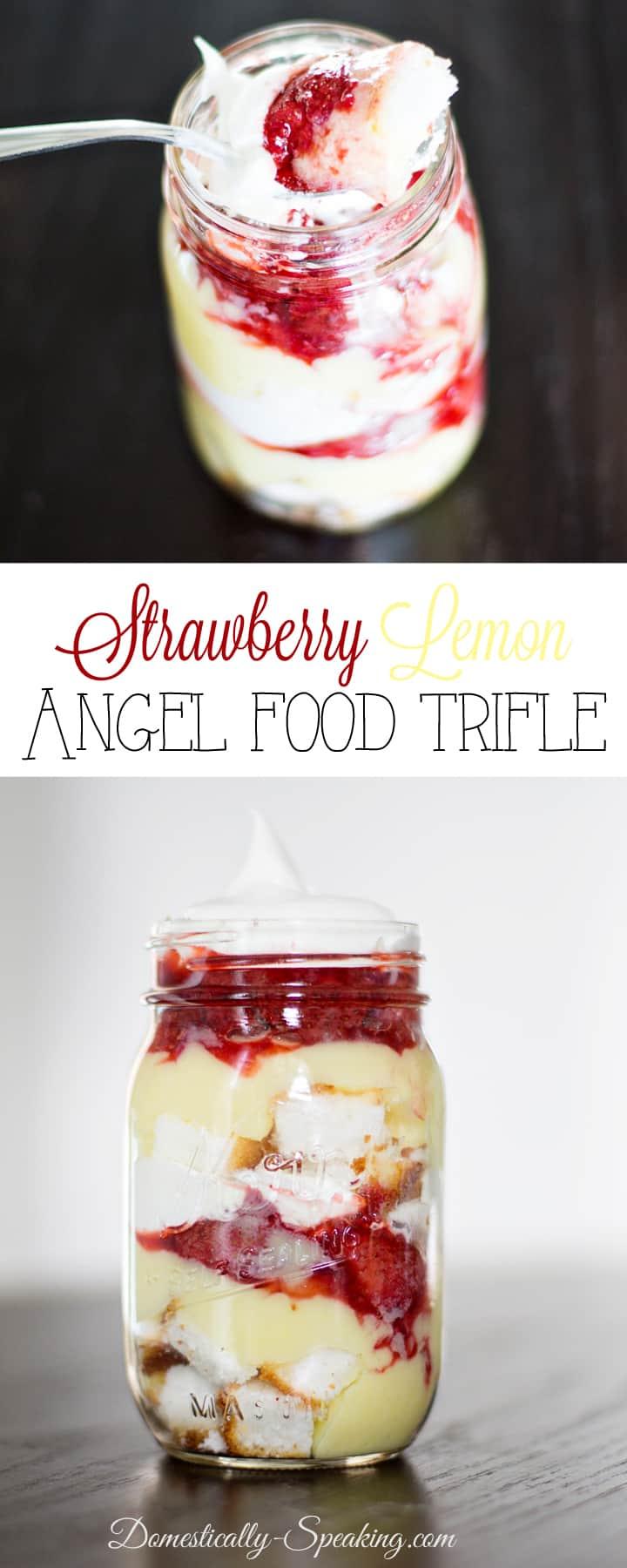 Mason Jar Strawberry Lemon Angel Food Trifle