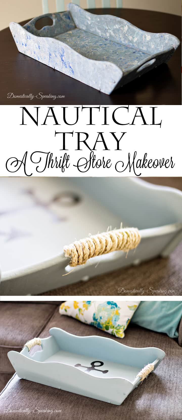 Nautical Tray a Thrift Store Makeover with Rope Detailing