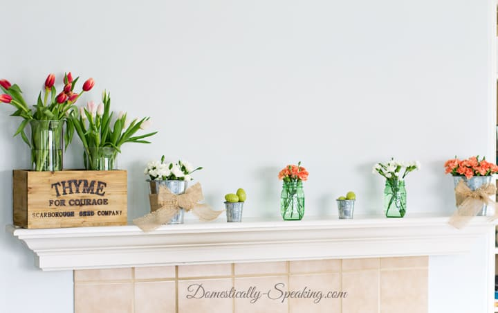 Spring Mantel 2015 Simple Beauty with greens, pinks and corals 3