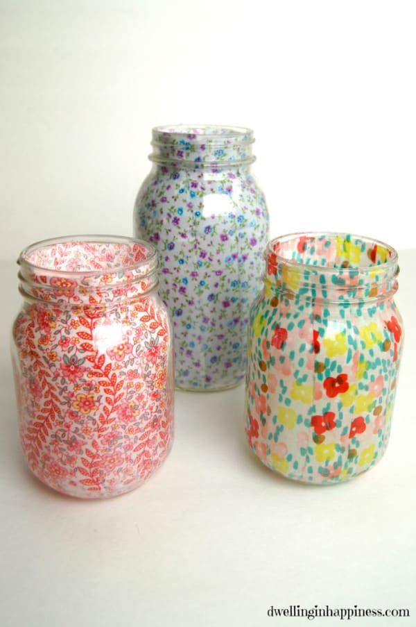 Spring Mason Jar Vases from Dwelling in Happiness