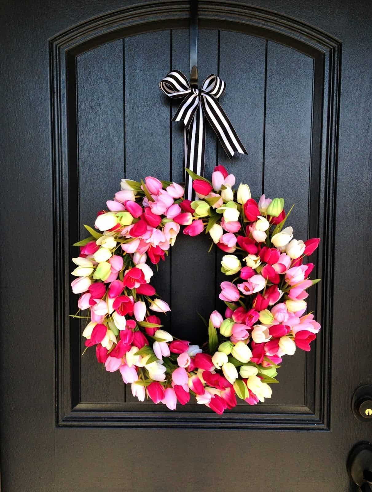 spring tulip wreath from Life Love Larson