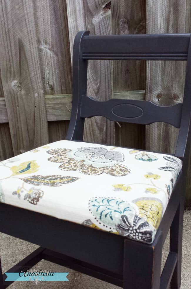 Fun craft projects with fabric friday features domestically 2 painted annie sloan graphite chair from anastasia vintage gumiabroncs Gallery