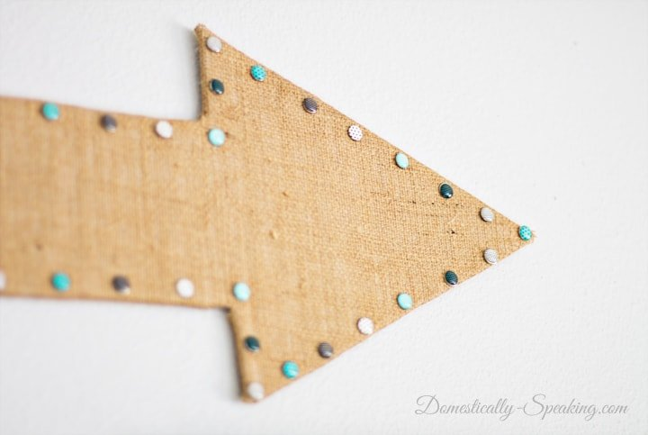 Burlap Arrow a fun addition to a gallery wall 3
