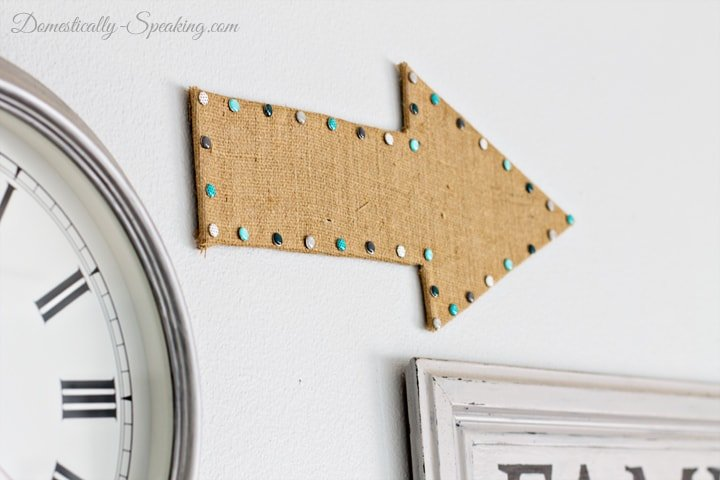 Burlap Arrow a fun addition to a gallery wall 6