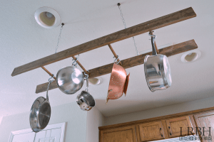 DIY Ladder Pots and Pans Storage Solution