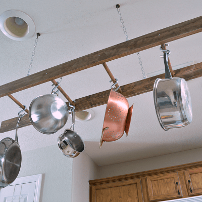 DIY Ladder Pot Rack