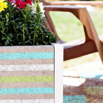 DIY Beachy Striped Paver Planter Tutorial